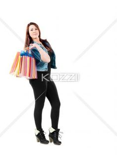 girl with shopping bags - Girl posing with shopping bags. Model: Sierra Walsh
