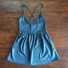 Silence + Noise Gray Cross-Back Ballerina Dress