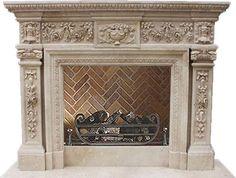 Monumentale Kaminmaske aus beigefarbenem Marmor / Kalkstein  Modell ZO215-0027, SHI-Kaminserie