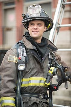 """Jesse Spencer as """"Casey"""" sporting his LION Janesville® turnout gear.   Shared by LION"""
