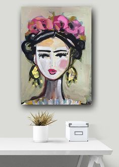 Frida Portrait, Frida Print, abstract, paper or canvas by DevinePaintings on Etsy