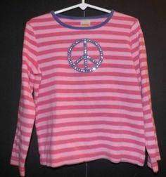 Girls Gymboree Superstar Pink Peace Striped Top Sz 6