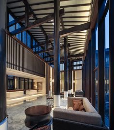 Jinmao Chongming HYATT Hotel Design 2014 Gold Nugget Award Chinese Buildings, Chinese Architecture, Interior Architecture, Interior Design, Hotel Lounge, Lobby Lounge, Public Hotel, Lobby Interior, Hotel Decor