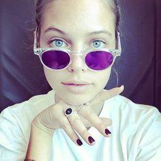 mirrored purple lenses, clear frames