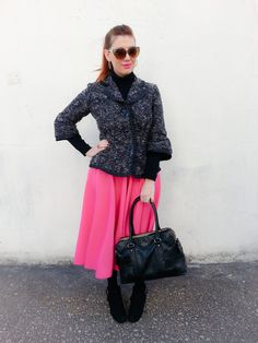 Jacket: Carole Little Turtleneck: Under Armour Skirt: ASOS Bag: Kate Spade NY Boots: Nine West