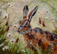 marmaladerose. 'Gentle Touch', wet felted wool, textile art by Yorkshire artist, Fiona Gill