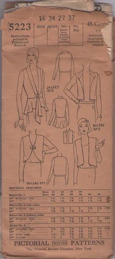 Pictorial Review 5223 Vintage 20's Sewing Pattern GORGEOUS Art Deco Flapper Tie Front Bolero Jacket, Peplum, Shaped or Cropped