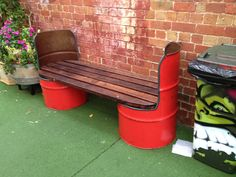 Creative bench with recycled 55-gallon drums.