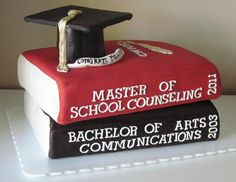 This cake was created for my dear co-worker's sister who graduated from CW Post this year with a Master's Degree! I've made a number of cake. Masters Degree Graduation, Phd Graduation, College Graduation Parties, Graduation Celebration, Grad Parties, Graduation Ideas, Graduate Degree, Graduation Quotes, Graduation Announcements