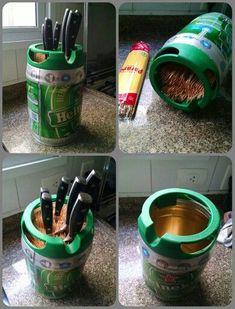 Heineken keg repurpose knife support #beerkeg