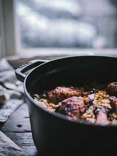 """One Pot Sesame Chicken Drumsticks and Umami Rice Dinner Recipe -- Once removed from the Dutch oven, the pot is then deglazed with mushroom broth, soaking in all the flavor of the drumsticks and spices. By the time the fresh shiitake mushrooms and jasmine rice are added to the vessel, the umami base makes it a most drool-worthy meal. The savory depth of flavor and the ease of preparation make this the perfect dinner for your night in!"""" Get the recipe here on our Style Guide!"""