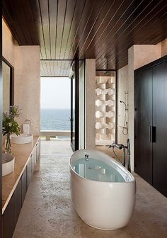The Casa Kimball by Architect firm Rangr Studio is a unique and stunning modern rental villa located in Cabrera in Dominican Republic. Indoor Outdoor Bathroom, Outdoor Showers, Modern Furniture, Home Furniture, Open Showers, Buying A New Home, Luxury Accommodation, Decorate Your Room, Modern Bathroom