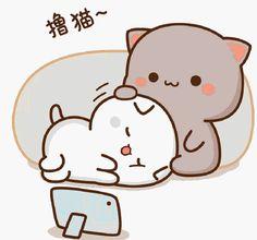 Cute Anime Cat, Cute Bunny Cartoon, Cute Kawaii Animals, Cute Cartoon Pictures, Cute Love Pictures, Cute Love Cartoons, Cute Bear Drawings, Cute Cartoon Drawings, Chibi Cat