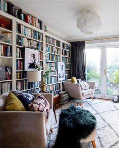 Super Home Library Room Bookshelves Apartment Therapy 52 Ideas Home Library Rooms, Home Library Design, Home Libraries, Home Office Design, House Design, Dream Library, Design Desk, Corner Reading Nooks, Reading Room
