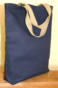 Navy Blue Canvas Tote Bag with Khaki Cotton by TheBugBoutique, $6.00