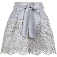 ZIMMERMANN Meridian Stripe Shorts (265 CHF) ❤ liked on Polyvore featuring shorts, short, bottoms, pants, high waisted short shorts, short shorts, summer shorts, blue swim shorts and scalloped shorts