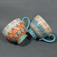 2 hand painted Dutch Wax Anthropologie style artistic orange blue teacups mugs #graces