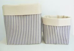 Fabric Storage Basket Organizers  Blue by littlehenstudio on Etsy, $40.00