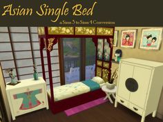 Asian Single Bed Frame(requested by Tumblinrob a long tome ago, I just learned how to separate Ö.ö) DOWNLOAD at dropbox to be found in DECO->CLUTTER (I tried to put it under BEDs but failed...