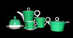 Moderna uma outra nem tanto: Serviço de café art déco de cor verde – Vista Alegre