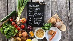 Sunn ukemeny for hele familien - Plusstid Food And Drink, Lettering, Drawing Letters, Brush Lettering