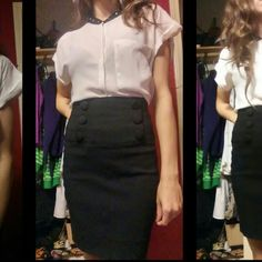 High-waisted Black Skirt Worn a couple of times. Perfect condition. Adorable and classic with those cute buttons on the front! MaxRave Skirts Pencil