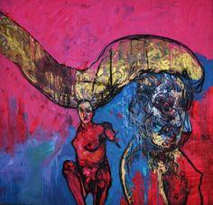 Carlos Quintana (1966 -     ) - Quintana pinta em telas viradas ao contrário, de grandes dimensões, como forma de inspiração, no sentido de alcançar novas direções para os seus trabalhos. Espalha a tinta na tela com as próprias mãos, depois de a ter diluído com terbentina ou com a sua própria saliva.   Críticos de arte consideram que Quintana tem claramente a capacidade de conquistar novos rumos, ao transformar um ato de maldade num eloquente e mágico trabalho artístico.