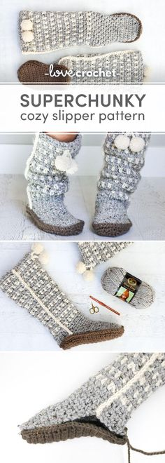 Slide your feet into a little piece of heaven with these easy crochet slippers. These slouchy, stylish and easy crochet slippers come together with surprisingly simple construction and, perhaps most importantly, very few ends to weave in! Make them as Christmas, Hanukkah, birthday or new mom gifts!