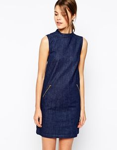 Image 1 of Warehouse Funnel Neck Shift Dress