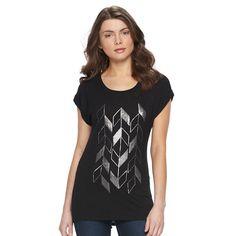 Women's Apt. 9® Roll Cuff Tee, Size: Medium, Black