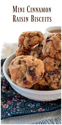 Mini Cinnamon Raisin Biscuits are a nice alternate to cookies.  The biscuits are very tender and studded with plump soft raisin and flavored with cinnamon/sugar. via @https://www.pinterest.com/BunnysWarmOven/bunnys-warm-oven/