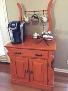 After- washstand in Barcelona Orange and dark wax. Coffee and Tea bar. Coffee Area, Coffee Nook, Coffee Corner, Repurposed Furniture, Painted Furniture, Refinished Furniture, Coffee Bar Station, Coffe Bar, Furniture Makeover
