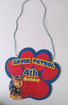 Paw Patrol Birthday Party Door Sign Hanging by TriniGirlTreats