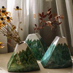 Conquer these mountaines! Ceramic vases | Купить Ваза гора. - тёмно-зелёный, ваза, ваза для цветов, керамика ручной работы, Керамика