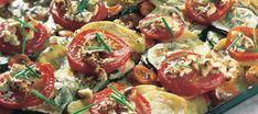Juustokasvikset uunissa | Pääruoat | Reseptit – K-Ruoka Caprese Salad, Pasta Salad, Kung Pao Chicken, Healthy Cooking, Side Dishes, Recipies, Vegan, Vegetables, Ethnic Recipes