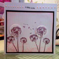 Dandelion stamp, distressed card, handmade card, distress ink