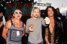 """Flea , Kurt Cobain ,And Joe Perry Of Red Hot Chili Peppers , Nirvana , Aerosmith """