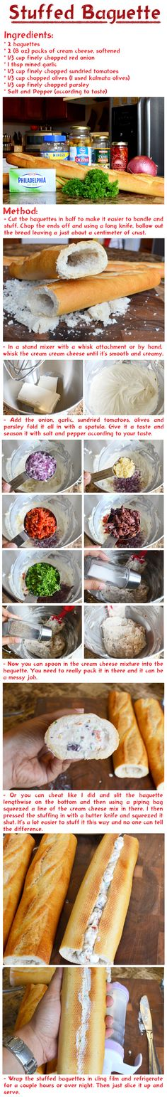 Could substitute ingredients used in pinwheels - cream cheese, minced fresh jalapeños, pimentos, chopped black olives, powdered ranch Finger Food Appetizers, Appetizers For Party, Appetizer Recipes, My Recipes, Cooking Recipes, Favorite Recipes, Baguette Relleno, Stuffed Baguette, Haitian Food Recipes