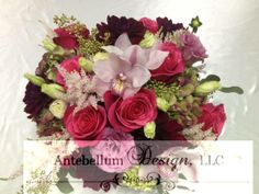 burgundy, hot pink, and blush wedding floral for and outdoor wedding reception centerpiece by AntebellumDesign.com