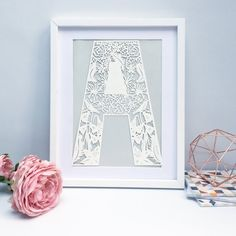 Framed Letter papercut new baby gift initial gift floral Baptism Gifts, Christening Gifts, New Baby Gifts, Gifts For Her, Framed Letters, Floral Letters, Letter Art, Paper Cutting, New Baby Products