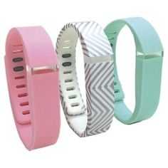 Smart Buddie� 3 Pack Fashion Activity Large Tracker Bands - Pink/Gray/Teal (1800-1002L)