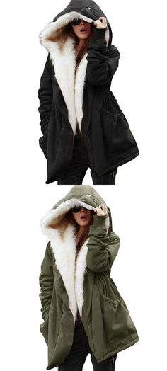 Military Winter Casual Outdoor Hoodie Trench Parkas Women s Overcoat 2c803657f5