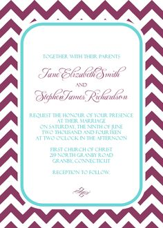 Chevron Wedding Invitation in Plum and Turquoise. For customizations: printableinvitationkits[at]gmail[dot]com