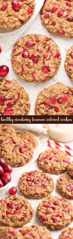 {HEALTHY!} Cranberry Banana Oatmeal Cookies -- just 84 calories! Soft, chewy, oatmeal cookie BLISS! So easy to make... And the BEST banana oatmeal cookies you'll ever have! We make these EVERY holiday season! #recipe #healthy #vegan #glutenfree #cleaneating