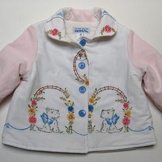 Size 2 Baby Girl Jacket Coat Vintage Embroidered Scotties