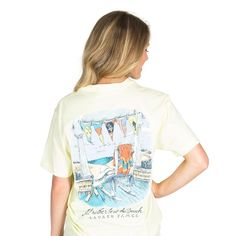 I'd Rather Be at the Beach Pocket Tee in Yellow by Lauren James - FINAL SALE