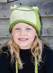 Kids Fernie The Frog Beanie by Knitwits - A615K  Delux Knitwits are made of 100% natural wool from New Zealand. Wool contains lanolin which makes it water resistant and gives it a natural self cleaning effect. Knitwits are made in a fair trade environment with a portion of our proceeds donated to the community in which they were created.