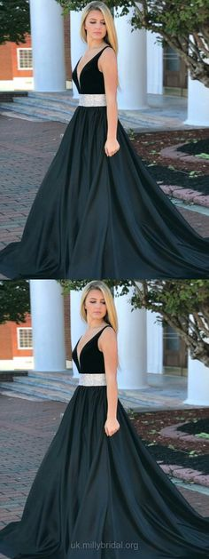 Long Prom Dresses Black, Ball Gown Prom Dresses, Cheap Formal Dresses for Teens, V-neck Graduation Dresses Satin #promdresses