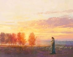 Eventide is a painting that depicts Jesus Christ with His flock during a sunset - Yongsung Kim Paintings Of Christ, Jesus Painting, Lord Is My Shepherd, The Good Shepherd, Celestial, Jesus E Maria, Pictures Of Jesus Christ, Christian Artwork, Lds Art