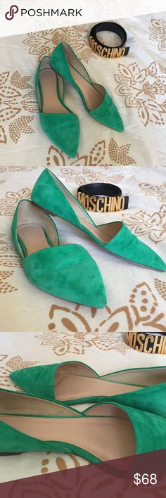 Festive green Sloan suede d'orsay flats Festive green Sloan suede d'orsay flats. Worn once - the color is not for me. A beautiful festive green suede material. True to size 7. Has been worn once - normal wear on bottom of shoe. Slight black mark on suede can be reviewed in photo    I don't trade & no offsite transactions. Posh only. No Holds. J. Crew Shoes Flats & Loafers
